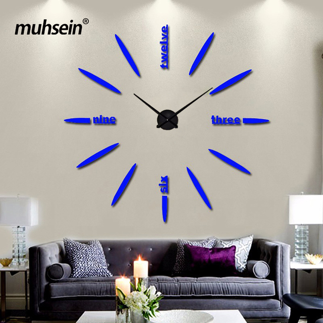 muhsein Factory 2019 Wall Clock Acrylic+EVR+Metal Mirror Super Big Watches Clocks hot DIY wedding decoration Free shipping