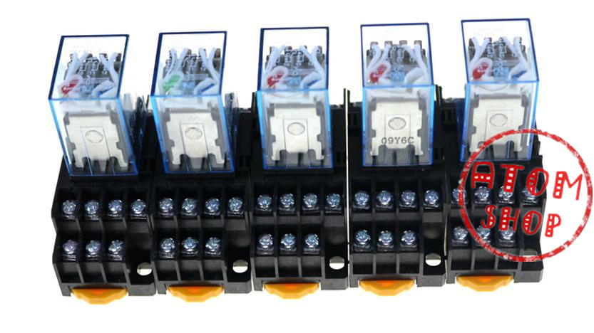 цена на 5PCS MY4NJ AC DC 220V Coil 5A 4NO 4NC Green LED Indicator Power Relay DIN Rail 14 Pin time relay with socket base