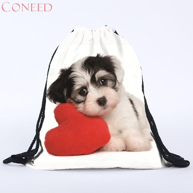 תיקי בית ספר CONEED מקסימות נחמד מתנה הטובה ביותר שרוך שקיות הדפסת 3D כלב לשני המינים s Oct16 ספינת ירידה