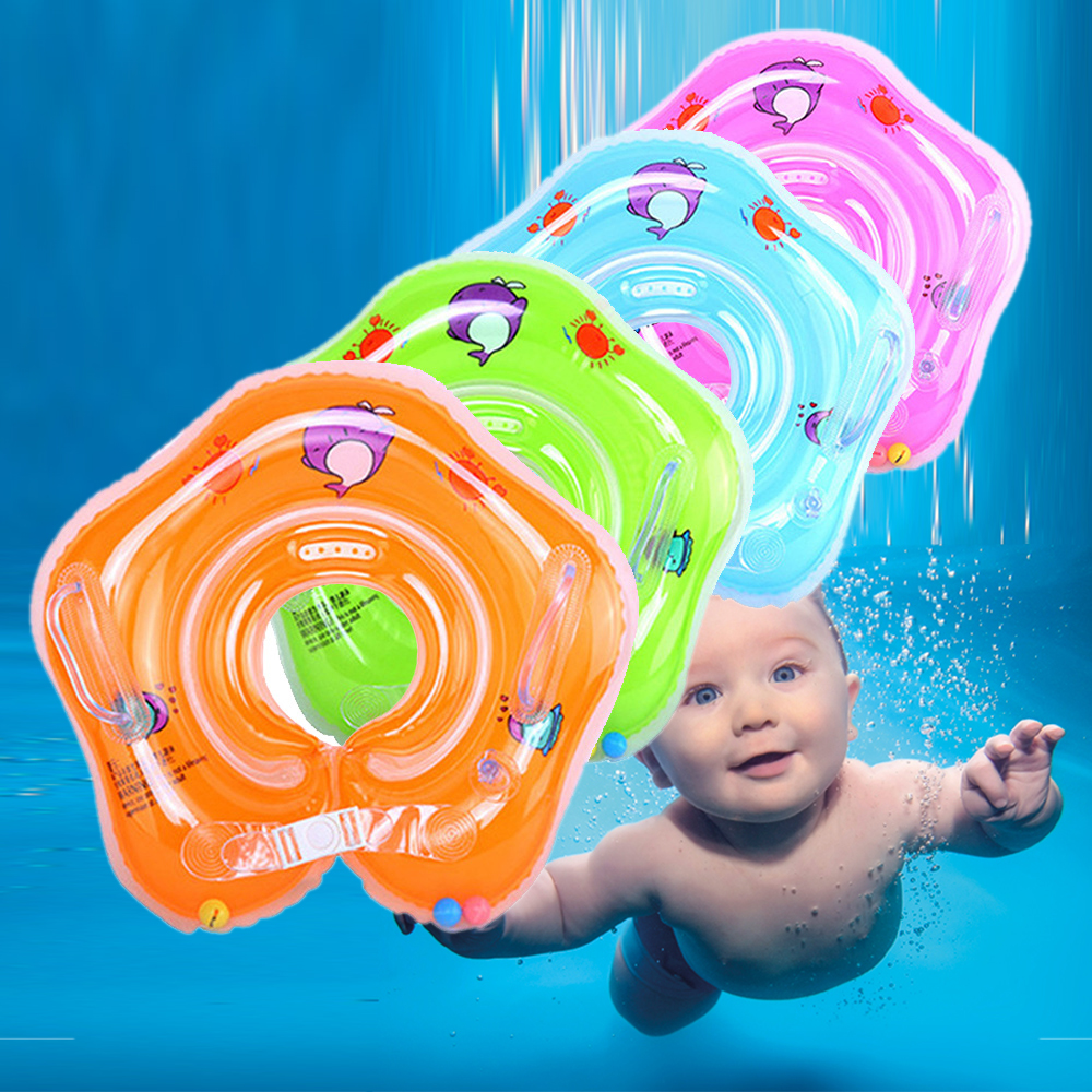 Infant Swimming Neck Ring Tube Safety Baby Bathing Float Circle Inflatable Flamingo Drink Cup Baby Training Swimming Accessories