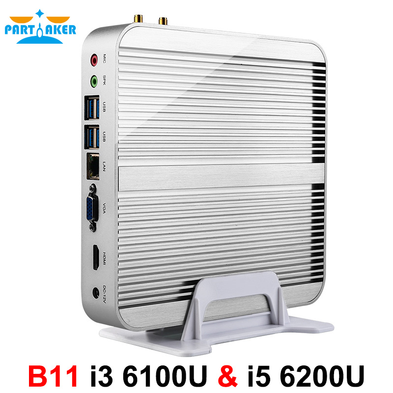 Partaker B11 Business Barebone Computer Fanless Mini PC with Intel Core i3 6100U i5 6200U i7 6500U i7 6600U 6th Gen Skylake CPU