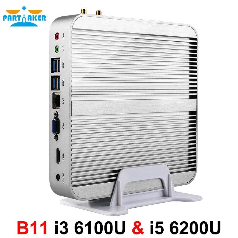 Prix pour Partaker b11 d'affaires barebone ordinateur sans ventilateur mini pc avec intel core i3 6100U i5 6200U i7 6500U i7 6600U 6e Gen Skylake CPU