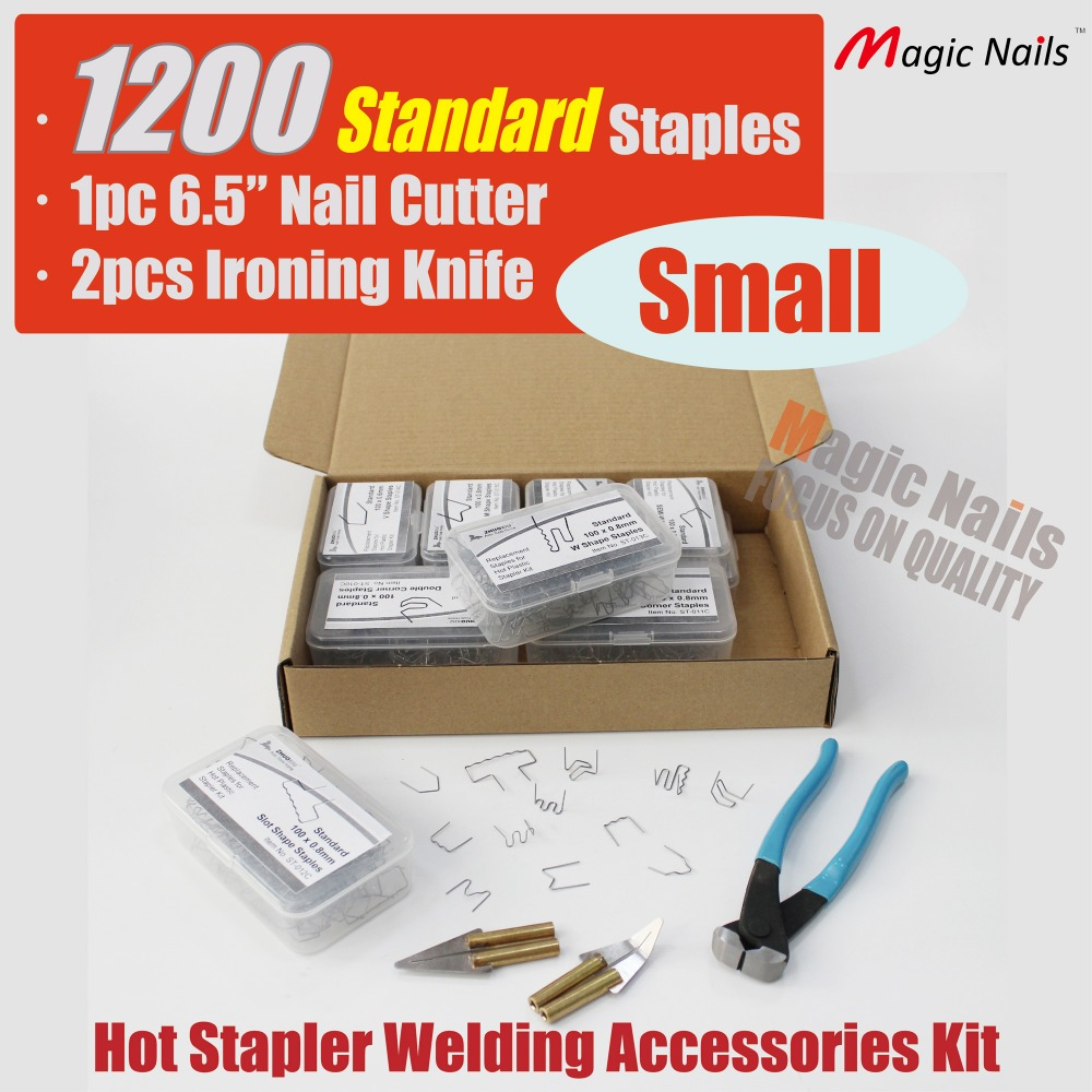Plastic Stapler Welder Repair Accessory Kit INC'S Staples - Nail Pincer and 2 Ironing Knives  HS-015CXF free shipping deli 0451 candy color stitching machine set mini stapler belt clip staples attached manual mini stapler
