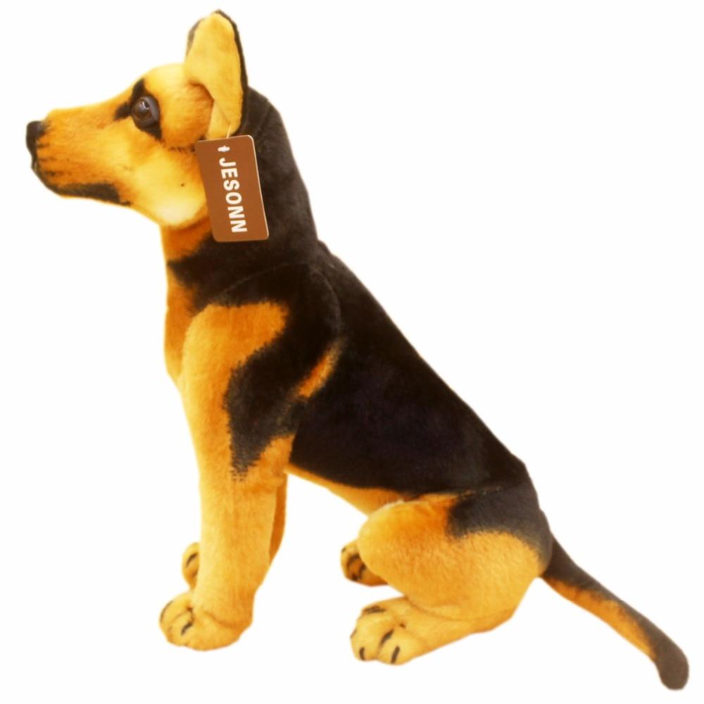 JESONN Realistic Stuffed Animals Sitting Shepherd Dog Plush Toys German Shepherd for Children's Birthday Gifts