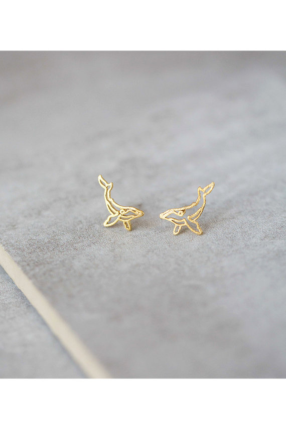Daisies 1pc New Fashion Stud Earrings Cute Whimsical Whale Earrings Gold Silver Earrings For Women Animal Jewelry