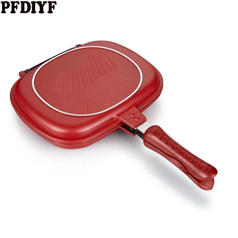 Venda quente do Agregado Familiar 28-32 cm Pan Double Side Grill Fry Pan Panelas Dupla Face Pan Bife Fritar Pan panqueca de cozinha ao ar livre