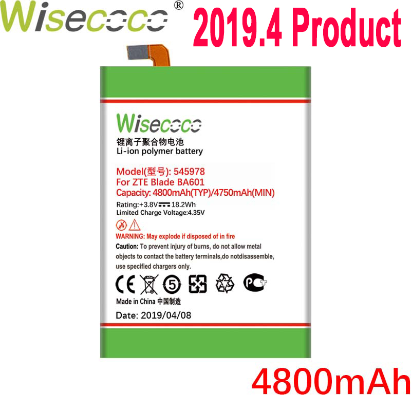 Wisecoco 4800mAh 545978 <font><b>Battery</b></font> For <font><b>ZTE</b></font> <font><b>Blade</b></font> BA601 <font><b>A601</b></font> Mobile Phone Latest Production High Quality <font><b>Battery</b></font>+Tracking Number image