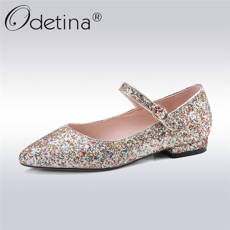 Odetina 2018 New Fashion Women Mary Janes Flats Buckle Strap Pointed Toe Shoes Lady Sequined Cloth Bling Shoes Big Size 33-43 odetina 2017 new summer women ankle strap ballet flats buckle hollow out flat shoes pointed toe ladies comfortable casual shoes