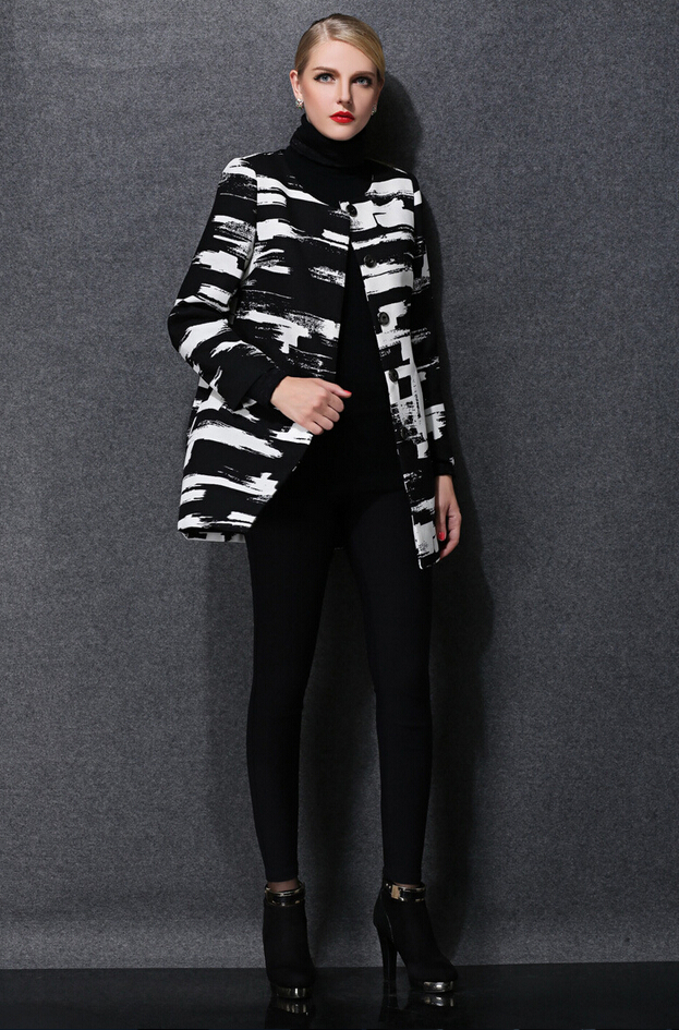 Europe 2016 hot sell new autumn winter fashion women clothing elegant printed round neck long sleeve