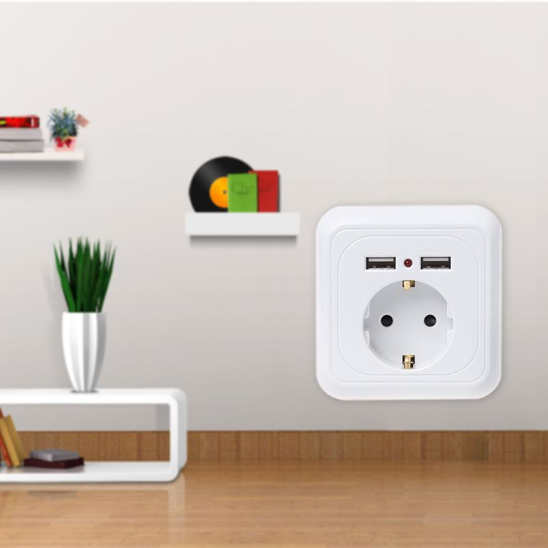 Wall Socket Power Outlet With Dual USB Ports LED Light White Panel EU Standard uk standard 1 gang socket with 2 usb chargering 3 pin white glass panel wall socket and 2100ma usb wall plug outlet