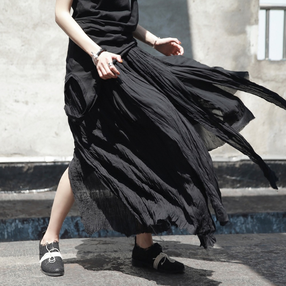 Cakucool Women Dark Black Long Skirt Pleated Mesh Linen Chiffon Patch Skirt  Holes Ripped Wild Asymmetrical Novelty Design Skirt-in Skirts from Women s  ... 885b4678d36b