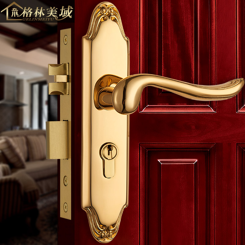 все цены на Pure copper door lock interior bedroom European handle solid wood door door lock all copper antique bronze lock
