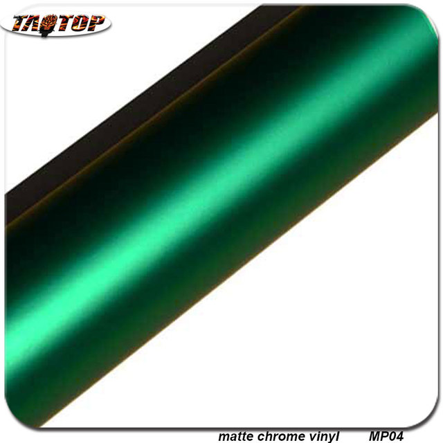 Whole 1 52x20m Rohs Air Bubbles Free Matte Chrome Vinyl Pearl Film Dark Green Color Wraps For Cars