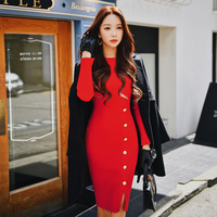 Dabuwawa Women Sexy Knitted Dress 2018 Winter New Vintage Long Button Pencil Dress Red Army Green Navy Holiday Christmas Dress
