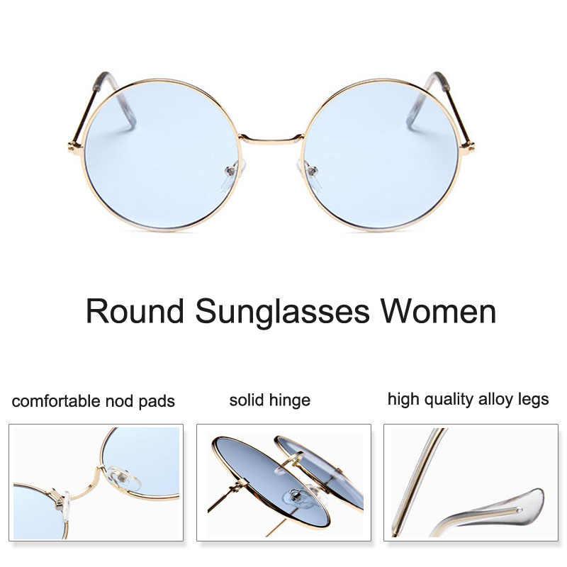 Retro Rodada Óculos De Sol Das Mulheres Da Moda Ver Através de Tons Claro Círculo Oculos Óculos Óculos de Sol Óculos de Marca de Design de Verão Transparente