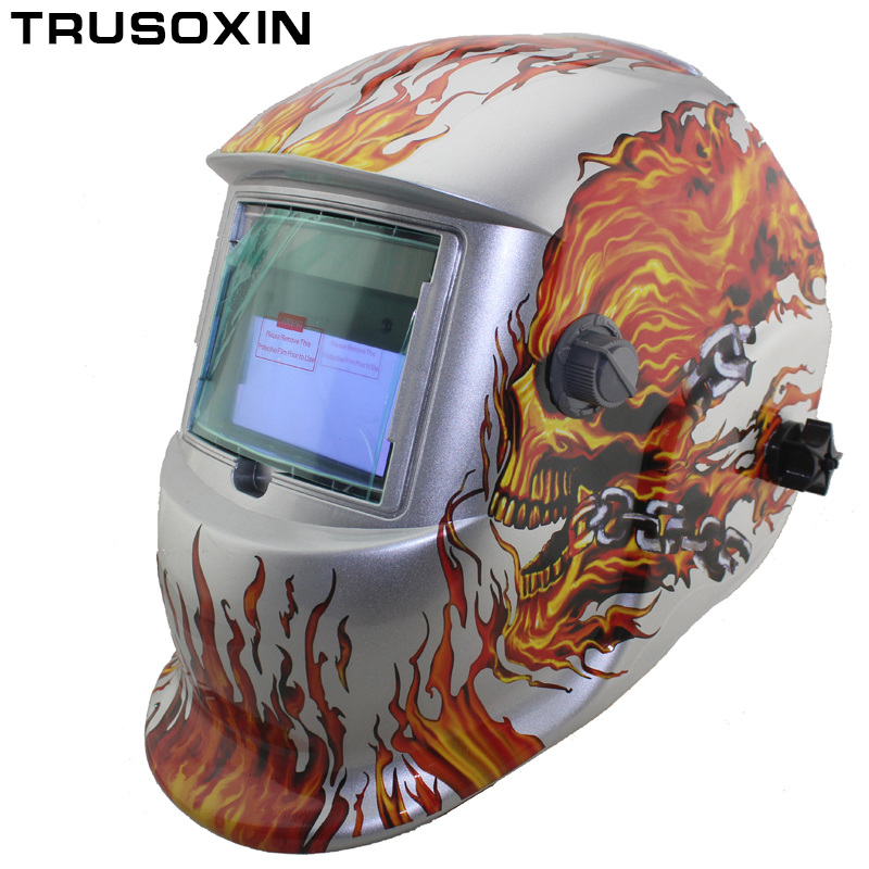 Solar Auto Darkening Electric Wlding Mask/Helmet/Welder Cap/Welding Lens/Eyes Mask  for Welding Machine and Plasma Cutting Tool fire flames auto darkening solar powered welder stepless adjust mask skull lens for welding helmet tools machine free shipping