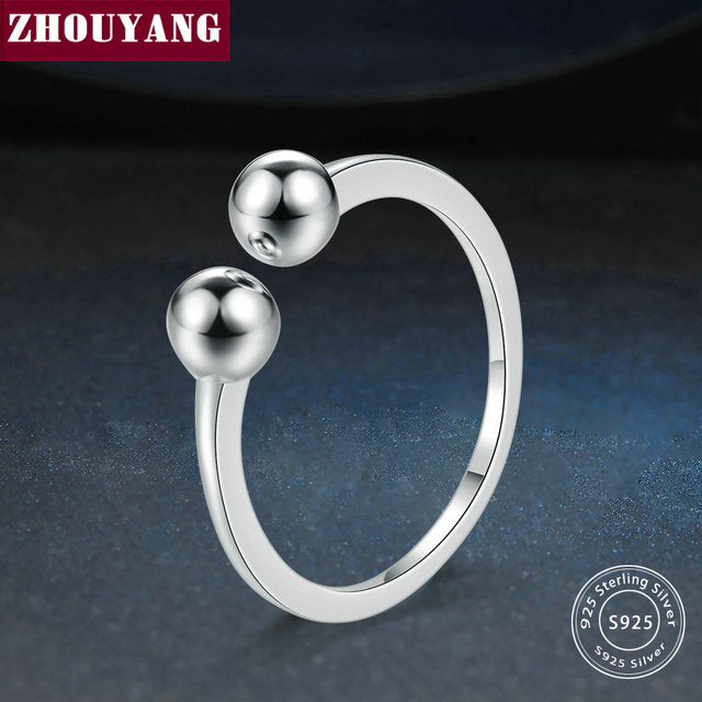 ZHOUYANG New 100% 925 Sterling Silver Rings Simple Smooth Design S925 Adjustable