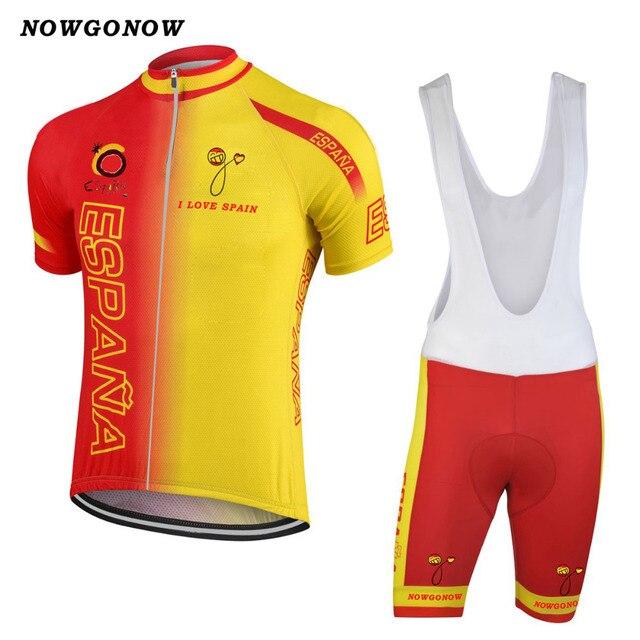 2018 spagna squadra nazionale jersey di riciclaggio set bici abbigliamento  usura giallo rosso squadra nazionale maglia 91c1b611469