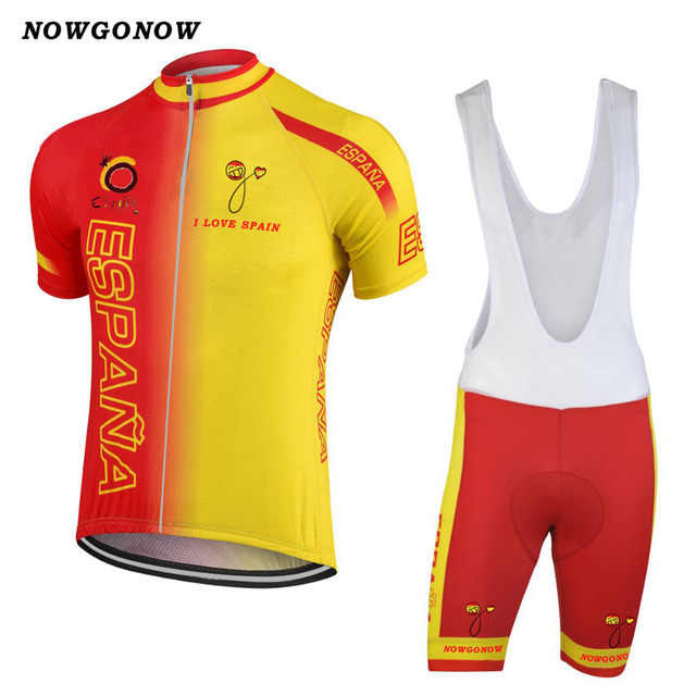 680c83fb7 2018 spain national team cycling jersey set bike clothing wear yellow red  national team maillot ciclismo bib gel pad shorts