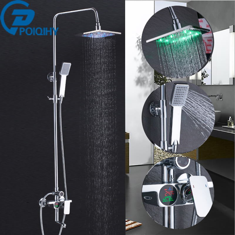 LED Brass Head Shower Faucet Chrome Bathroom Rainfall Temperature Screen Shower Set Faucet Tub With Hand Shower Mixer Tap