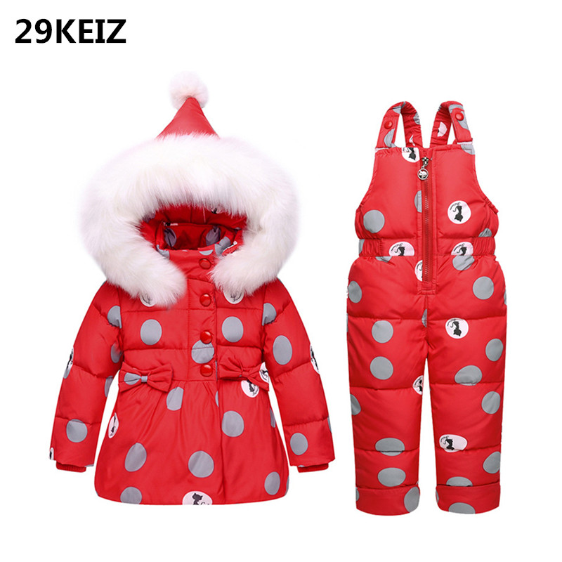 29KEIZ Winter Children Girls Ski Suit Red Big Dots Hooded Fur Collar 1 2 3 Years