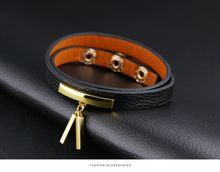Женский кожаный браслет с шармами регулируемая длина