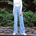 2017 Primavera Outono Mulheres Jeans Lavados Hight Cintura Larga Calças Perna Calças Jeans Comprimento Total Solto Feminino Z729