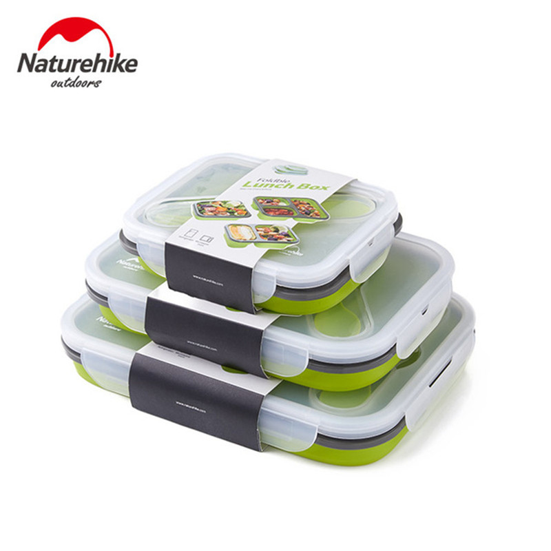 1 3 Grid Folding Silicone Lunch Dinner Box Bento Travel Bowl Picnic Food Container Lunchbox for Outdoor Tableware 600 1300ML-in Outdoor Tablewares from Sports & Entertainment