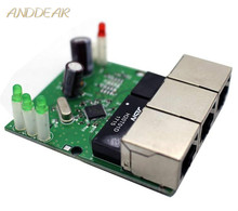 Veloce interruttore mini 3 porte switch ethernet 10/100 mbps rj45 switch di rete hub modulo pcb board per il sistema modulo di integrazione
