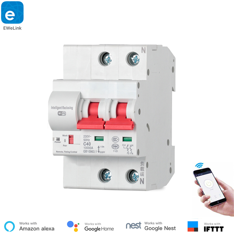 eWeLink 2P Remote control Wifi Circuit Breaker Smart Switch Intelligent Automatic Recloser overload short circuit protection