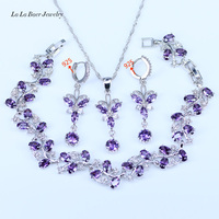 L B Top Quality Australian Purple Crystal 925 Sterling Silver Jewelry Sets For Women 925 Stamp