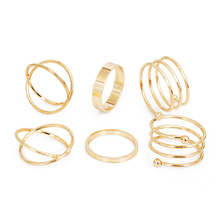2019 Hot Fashion unique set of rings punk fist gold for women ring finger 6 pcs. best selling