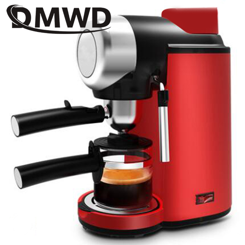 DMWD Electric Espresso coffee maker semi-automatic Italian coffee machine high pressure steam 5bar Cappuccino Froth milk foam EU