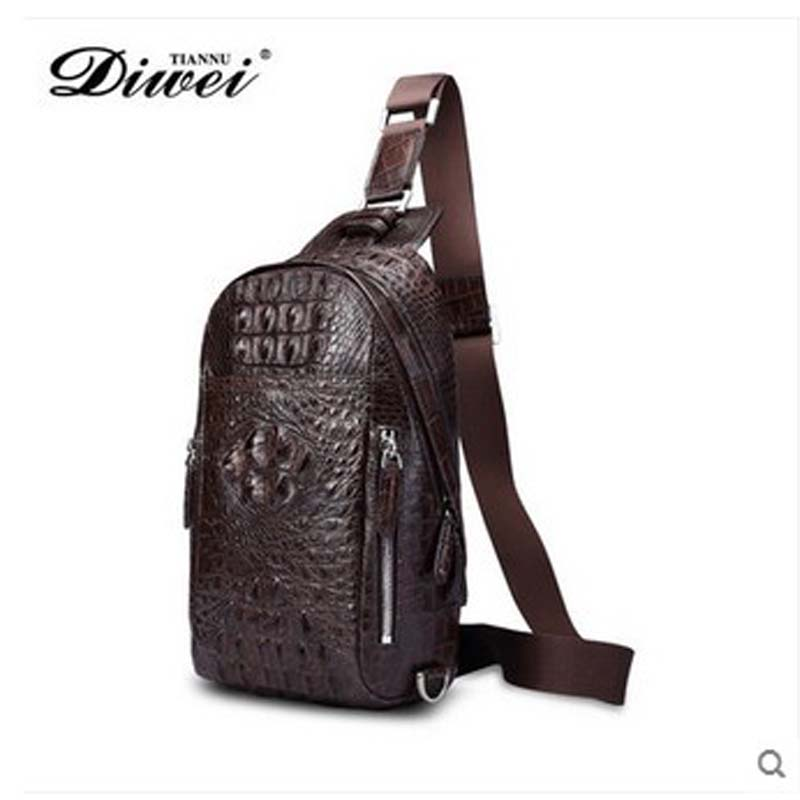 diwei 2017 new hot free shipping import crocodile chest bag young men leisure single shoulder bag luxury l purse men chest bag