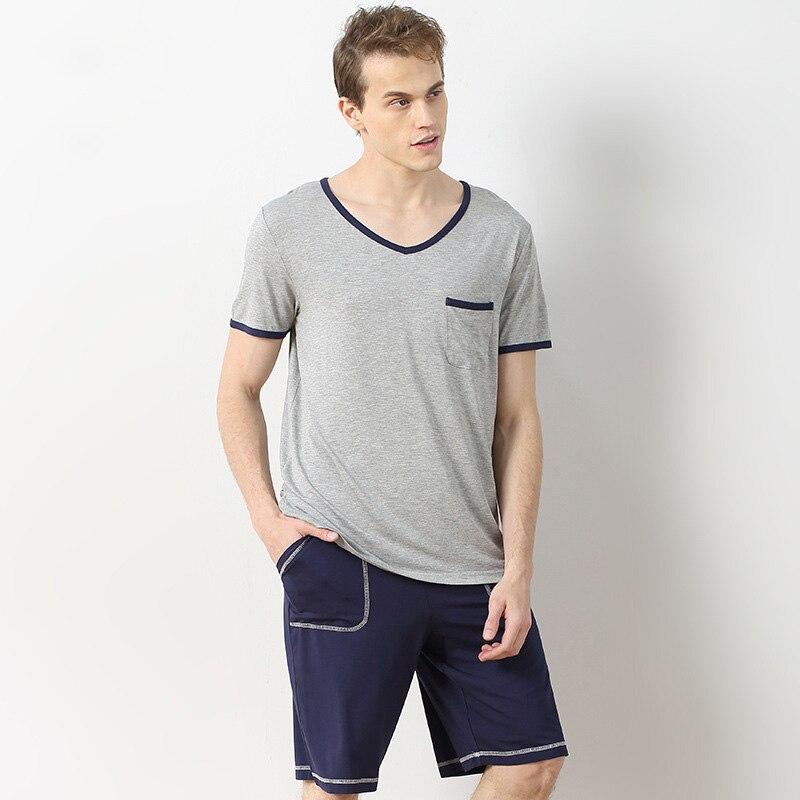 Fashion Men Pajamas Elasticity Short Sleeve V-neck Sleepwear Man Simple Pure Color Male  ...