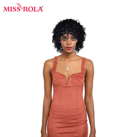Miss Rola Remy Hair Wigs Kinky Curly Pre-Colored 1B# Human Hair Short Wigs Free Shipping