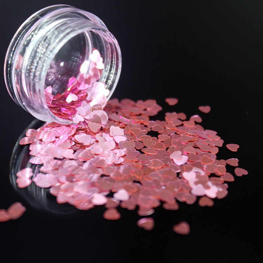 Lolede Warna Pink Muda Payet Kuku Seni Glitter Flakes Uv Gel Polandia Bintang Jantung Bunga Paillette Dekorasi Alat Bentuk Hati