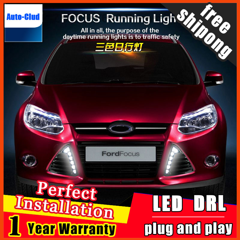 For Ford Focus 3 2012 2013 2014 LED DRL Daytime Running Lights Bumper Front Fog Lamp With Dimming Style Relay 12V led car daytime running light drl bumper with turn off and dimming relay front fog lamp for ford focus 3 2012 2013 2014 12v