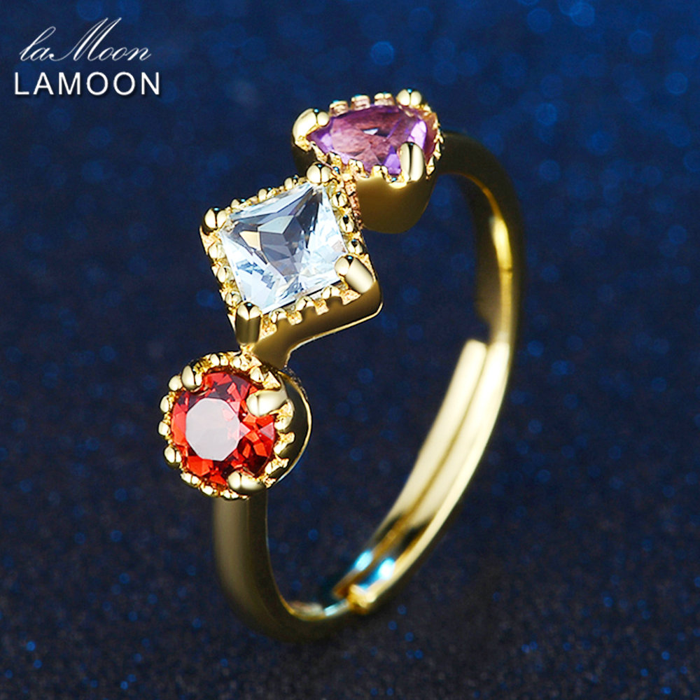 LAMOON 3pcs 4mm 1ct Purple Amethyst Red Garnet Blue Topaz Ring With 925 Sterling Silver Jewelry  For Gift LMRI011