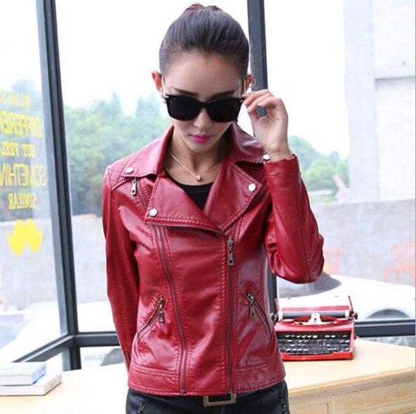 2019 New Spring Autumn Women Motorcycle Biker Soft Faux   Leather   Jacket Black Red Zipper Long Sleeve Pu Jacket Outerwear Coat 4XL