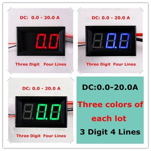 """RD 3 couleurs de chaque lot 0.56 """"ampèremètre numérique ampèremètre DC0-20A quatre fils trois chiffres panneau de courant mètre led [3 pièces/lot]"""