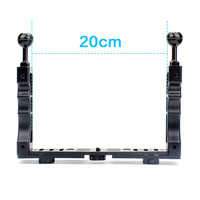Aluminum Alloy Underwater Waterproof Shell Tray Housings Arm For Gopro Action Camera Holder Double Grip Dive