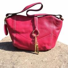 High Quality Women's Genuine Leather Handbag Small Red Clutch One Shoulder Tote Tassel Dumpling Messenger Bag
