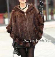 [YCFUR] Winter Warm Ponchos Shawls Women Knit Real Mink Fur Stole With Fur Hood Poncho Natural Mink Scarves Stoles Female