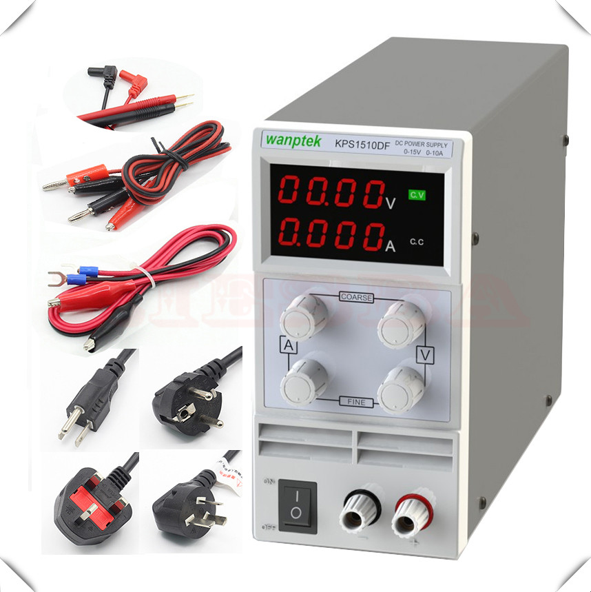 wanptek KPS1510DF KPS1505DF 15V 10A 5A 110V-230V 0.1V/0.001A EU LED Digital Adjustable Switch DC Power Supply mA display dc 12v led display digital delay timer control switch module plc automation new