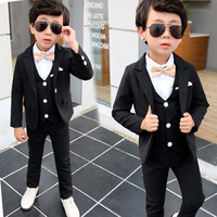 5Pcs Fashion boys blazers boys clothes formal kids blazer Kids Prom outerwear Black Weddings Suit For 2 8Yrs New Arrival S8O402A