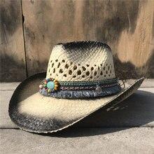 Модные женские туфли полые западная ковбойская шляпа летняя леди Boater сомбреро Hombre Шляпа Чародей кисточкой Защита от Солнца шляпа