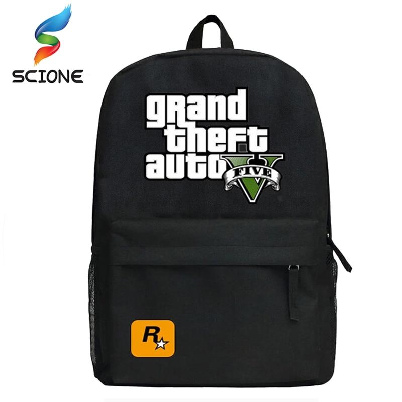 2018 GTA5 / GTA PC Games Mochilas School Kids Backpack For Teenagers Bags Anime Bag Mochila Surrounding Infantil Japan Animation