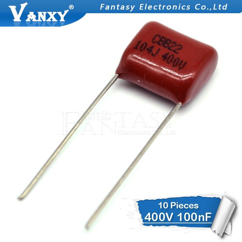 10PCS 400V104J Pitch 10mm 0.1UF 100NF 400V 104 CBB Polypropylene Film Capacitor