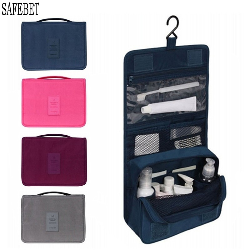 SAFEBET Brand Portable Cosmetic Storage Bag Travel Organizers Foldable Waterproof Hanging Makeup Storage Container Toilet